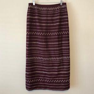 Kasper Maroon Embroidered Skirt